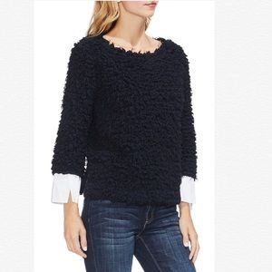 VINCE CAMUTO WOVEN LAYERED CUFFS POPCORN KNIT TOP